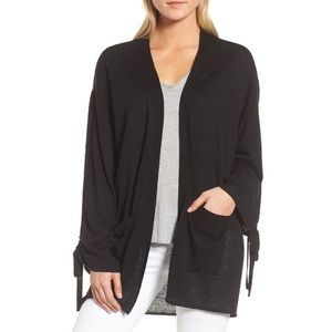 Trouve Black Ruched Sleeve Open Front Cardigan